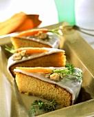 Iced carrot and hazelnut cake