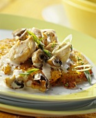 Finely chopped chicken with mushrooms on rosti