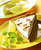 Piece of lime meringue tart