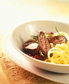Venison noisettes with elderberry noodles & cranberries