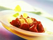 Flambéed strawberries, green pepper, vanilla ice cream & mint