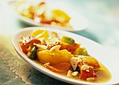 Marinated peppers with almonds (pimentos al vinagre)
