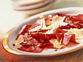 Bresaola condita (Bresaola ham with egg & Parmesan shavings)