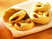 Taralli (baked pastry rings with almonds), Campania, Italy
