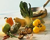 Various types of vegetables and shiitake mushrooms; wok