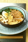 Japanese duck soup with noodles and tofu