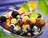 Melon and berry salad with yoghurt sauce