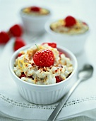 Strawberries with oat and yoghurt flummery