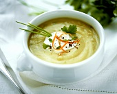 Creamy potato soup with sour cream