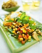 Summer vegetables with broad noodles