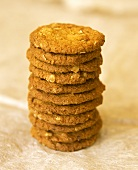 Oat biscuits in a straight pile