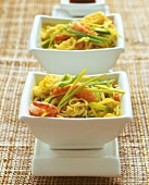 Asian noodle stir-fry with shrimps and leeks