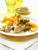 Fish with herbs, lemon potatoes and remoulade sauce