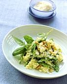 Risotto con le taccole (Risotto with mangetout & pine nuts)