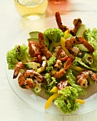 Lollo biondo with garlic shrimps and vegetables
