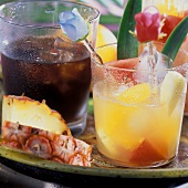Cuban cocktails with rum: Cuba libre and fruit punch