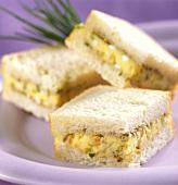 Sandwiches with potato cheese (potato spread) on plate