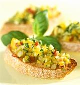 Crostini con le verdure (Vegetable crostini with almonds, Italy)