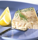 Fish terrine with shrimps, dill and lemon