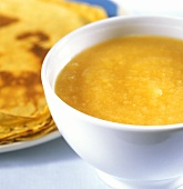 Pancakes and a bowl of home-made apple puree
