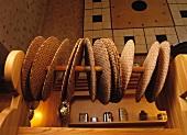 Scandinavian crisp breads on wooden pole