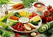 Raw vegetable salad with chive sauce; tomato soup; vegetables