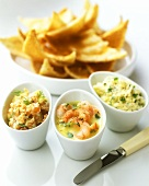 Shrimps, crab and salmon pate in bowls; toast