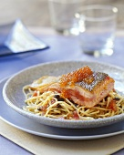 Noodles with fish, caviare and tomatoes