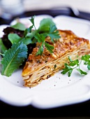Piece of lasagne with mince sauce