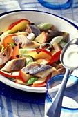 Matje herring salad with juniper cream and apples