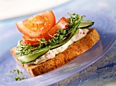 Wholemeal toast with soft cheese, cucumber, tomato & cress