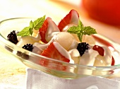 Melon and berry salad with cardamom mousse for diabetics