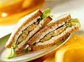 Vegetable salad and cottage cheese sandwich