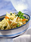 Apple and celery salad with flaked almonds