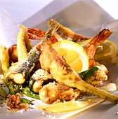 Fritto misto (mixed deep-fried fish with lemon)