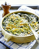 Spinach gratin in cup with spoon