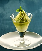 Basil sorbet with champagne in glass