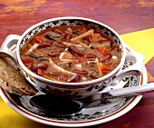 Goulash soup with kidney beans and peppers