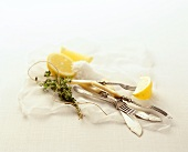Still life with fish cutlery, lemons, salt and thyme