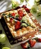 Polish Easter cake (Mazurek) with strawberries & kiwi fruits