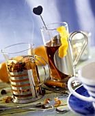 Tea with cinnamon and lemon; tea with apple and star anise