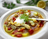 Coley and cucumber stew with yoghurt and dill