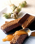 Chocolate and hazelnut terrine with apricot sauce