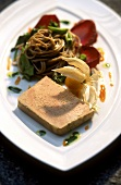 Goose liver pate with soba noodles and physalis
