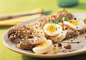 Sprout sandwich with boiled eggs
