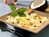 Indian coconut rice with leeks and raisins