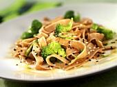 Tagliatelle with broccoli and sesame