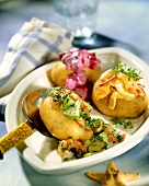 Filled potatoes with fish salads