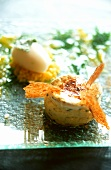 Caramelised goat's cheese cakes with lychee sorbet