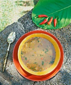 Soup with chili peppers from Mauritius